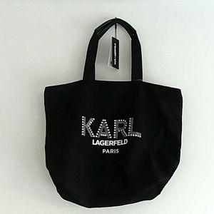 Karl Lagerfeld Kristen Tote Rhinestone logo nwt